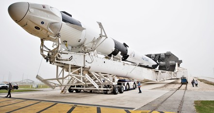 MAY 21 Crew Dragon Falcon 9 DM 1 39A rollout 022819 NASA Joel Kowsky 4 c crop